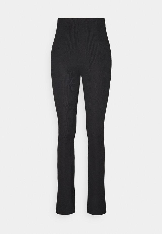 RIB SLIT PANTS - Legging - black