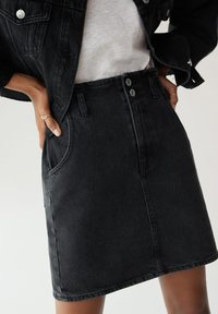 Mango - PAPERBAG - A-line skirt - black denim - 3