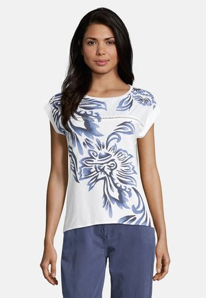 Print T-shirt - weiß/blau