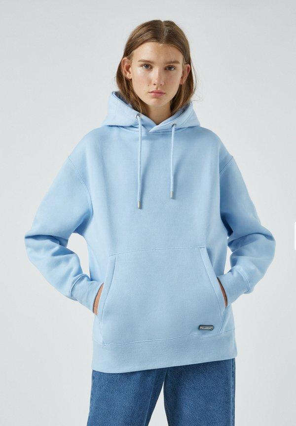 PULL&BEAR Bluza z kapturem - neon blue/niebieski neon Odzież Męska WEQW