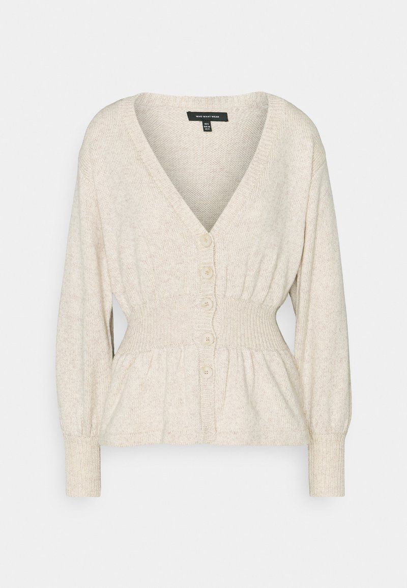 Who What Wear - WAISTED CARDIGAN - Cardigan - cream marl