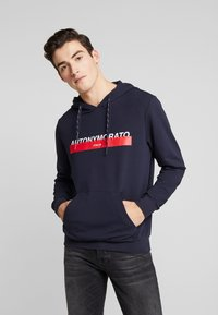 Antony Morato - HOOD DOUBLE COULISSE AND FRONT LOGO PRINT - Hoodie - ink blue - 0