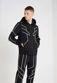 Neil Barrett BLACKBARRETT - ROBOT LINES OPEN FRONTED - Zip-up hoodie - black/white - 0
