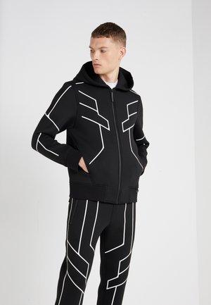 ROBOT LINES OPEN FRONTED - Zip-up hoodie - black/white