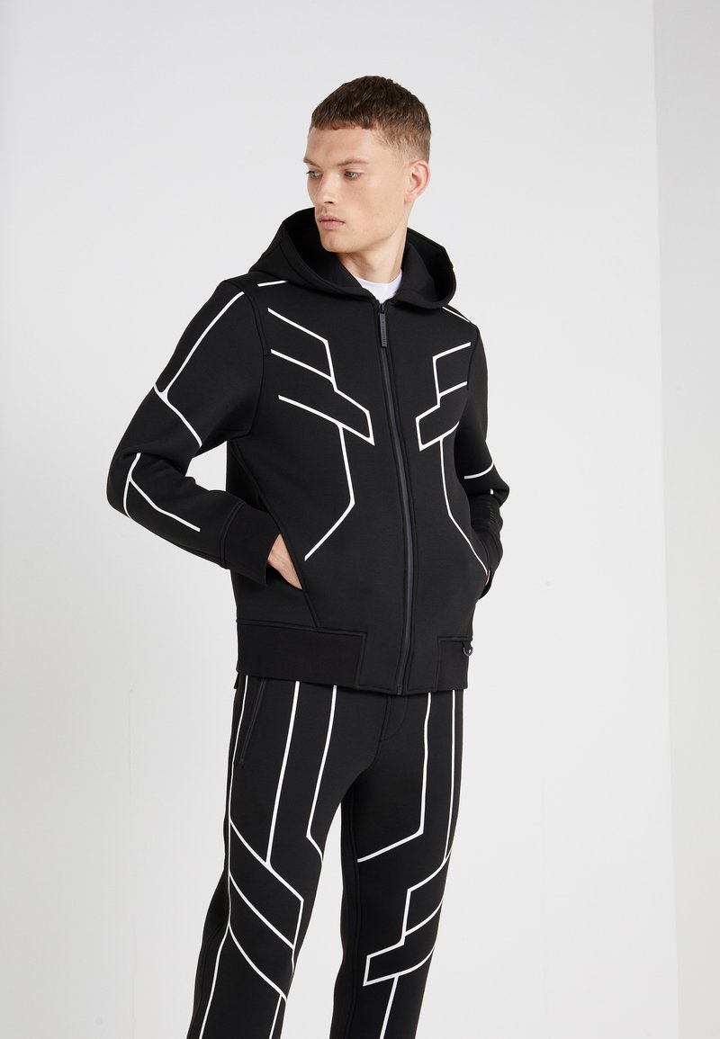 Neil Barrett BLACKBARRETT - ROBOT LINES OPEN FRONTED - Zip-up hoodie - black/white