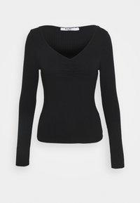FRONT RUCHED - Maglietta a manica lunga - black