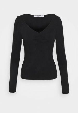 FRONT RUCHED - Langærmede T-shirts - black