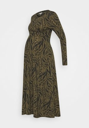 LYNX CROSS FRONT NURSING DRESS - Vestito di maglina - khaki/black