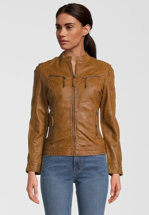 SASSARI - Leather jacket - cognac