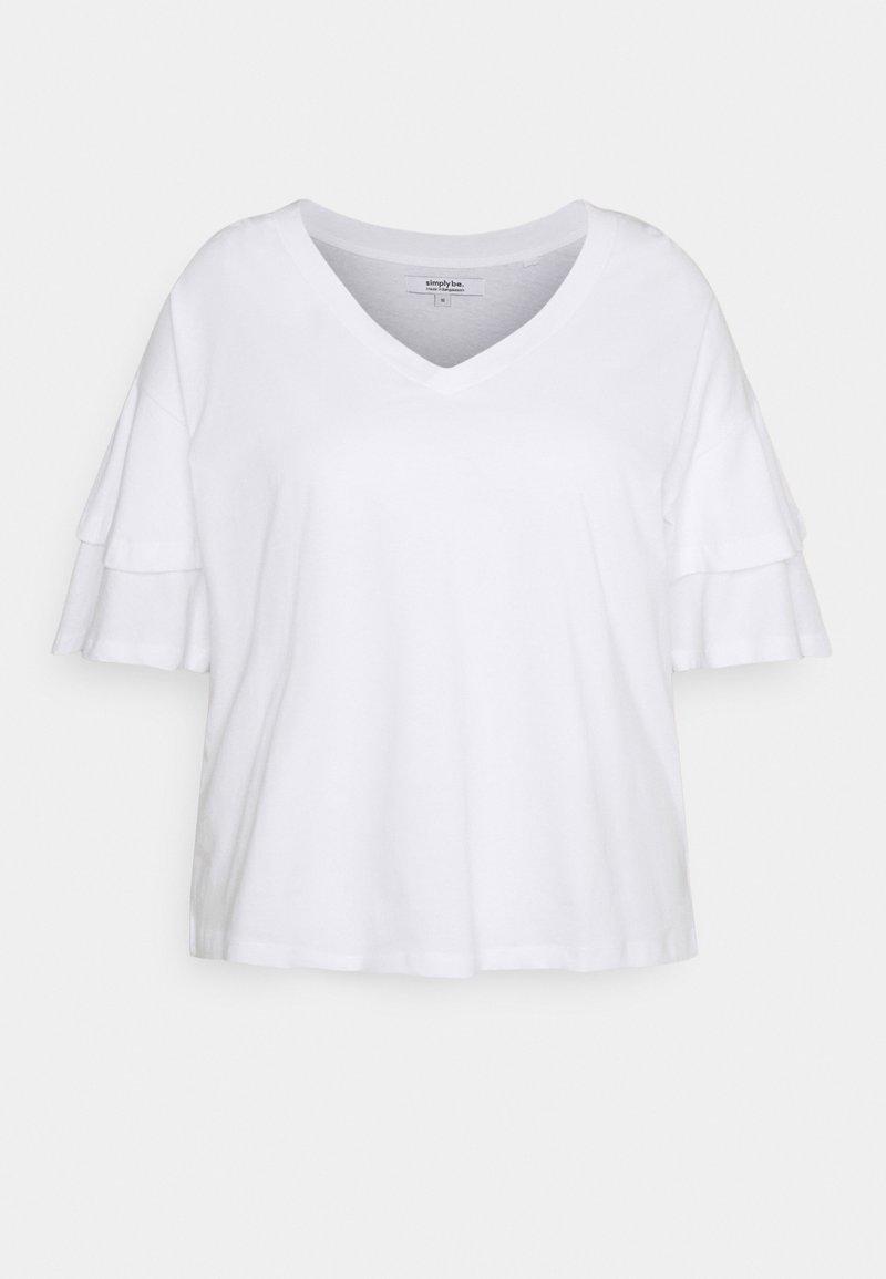 Simply Be - FRILL - Print T-shirt - white