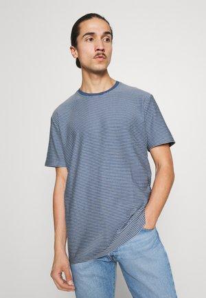 SLHRELAXTRISTAN STRIPE O NECK  - Print T-shirt - federal blue/egret