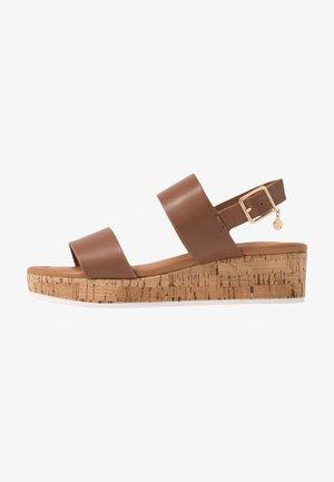 WIDE FIT LENNIIE - Platform sandals - tan