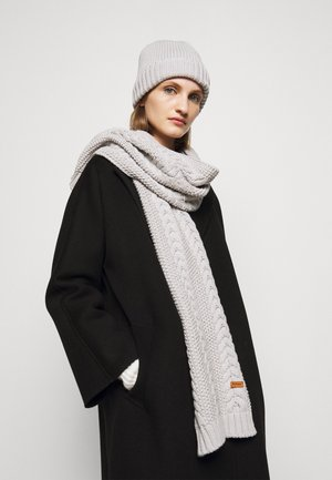 CABLE BEANIE SCARF SET - Šála - ice white