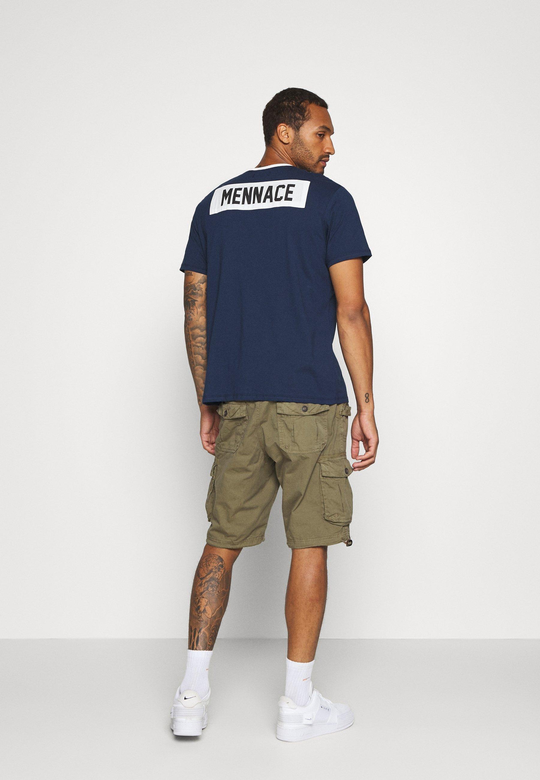 Mennace MENNACE PATCH CREW NECK - Print T-shirt - navy T8YKn