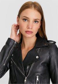 Stradivarius - Leather jacket - black - 3