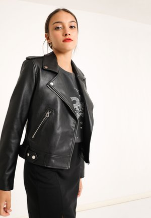 Faux leather jacket - schwarz