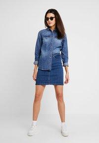 Zalando Essentials - DENIM SKIRT PENCIL - A-line skirt - blue denim - 1