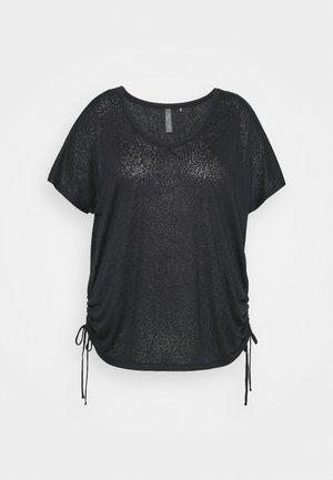 ONPJIVAN CURVED V NECK BURNOUT CURVY - Print T-shirt - blue graphite