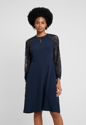 LACE SLEEVE FIT AND FLARE DRESS - Day dress - navy