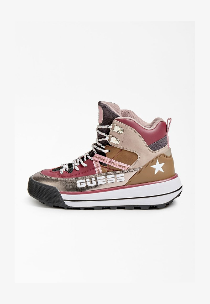 Guess - RAVE LOGOSCHRIFTZUG - Lace-up ankle boots - mehrfarbe rose