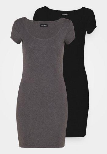 2 PACK - Žerzejové šaty - black/mottled grey