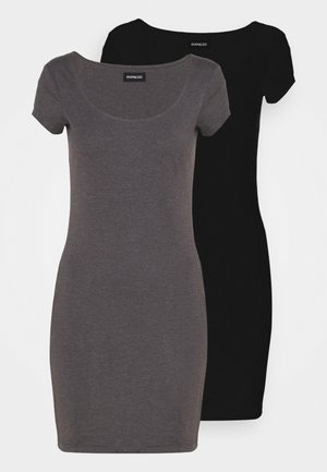 2 PACK - Jersey dress - black/mottled grey