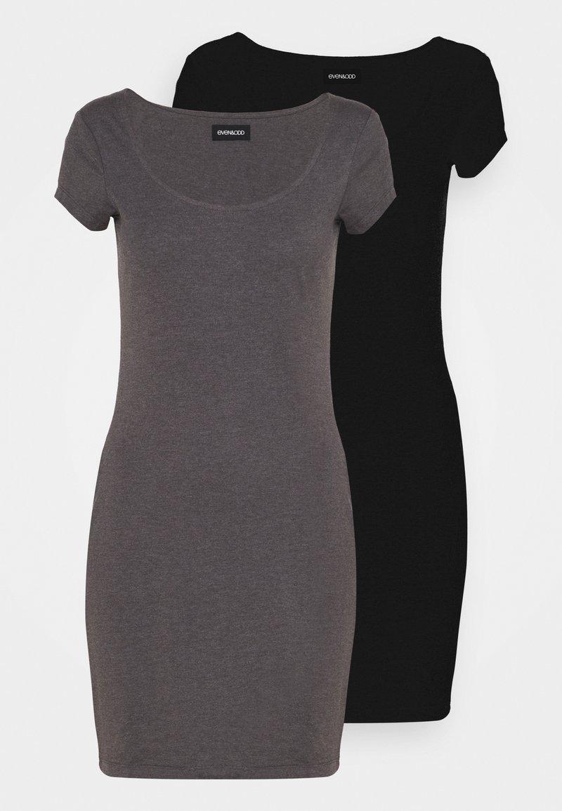 Even&Odd - 2 PACK - Vestido ligero - black/mottled grey