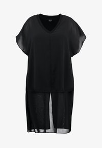Simply Be - LONGLINE SHEER OVERLAY BLOUSE - Blusa - black - 4