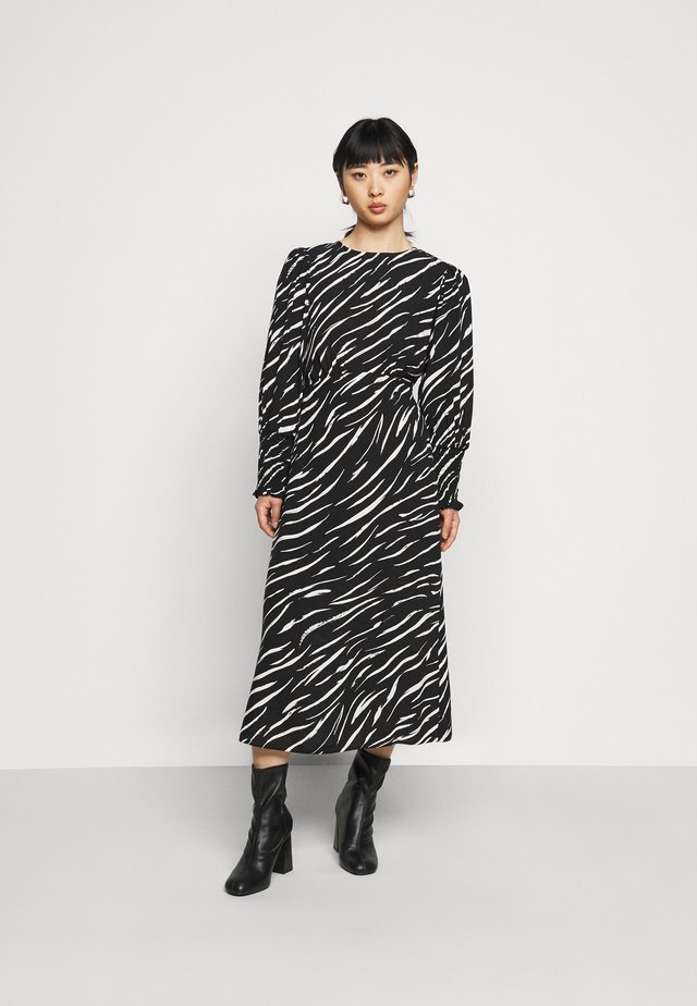 SHIRRED DETAIL ZEBRA MIDI DRESS - Day dress - black