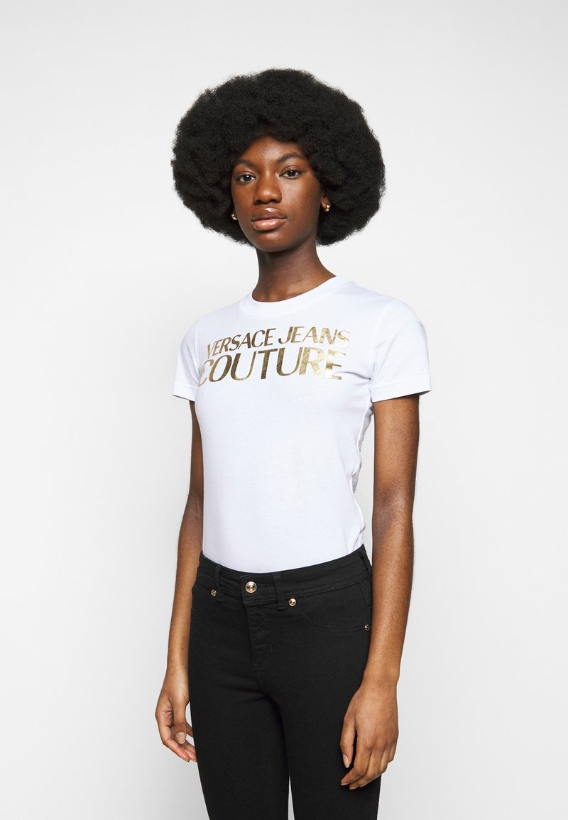 Versace Jeans Couture - LADY - Print T-shirt - optical white/gold