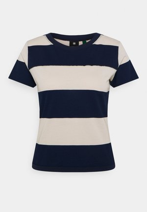 WIDE STRIPE TEE - Camiseta estampada - whitebait/sartho blue rugby