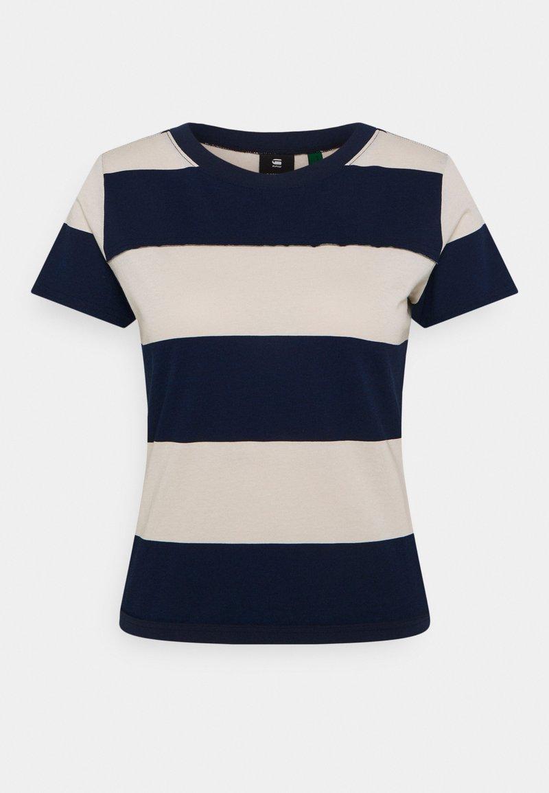 G-Star - WIDE STRIPE TEE - Print T-shirt - whitebait/sartho blue rugby