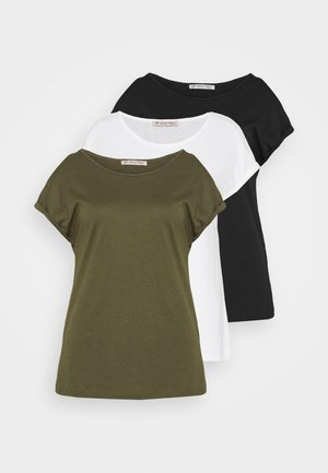 3 PACK - Basic T-shirt - black/white/khaki