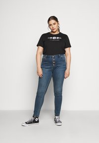 Even&Odd Curvy - Print T-shirt - black - 1