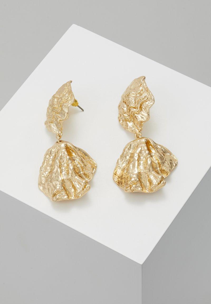 Topshop - CRUSHED DOUBLE DROP - Oorbellen - gold-coloured
