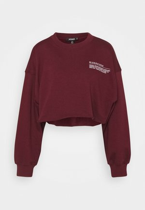 CROPPED RAW HEM - Mikina - burgundy