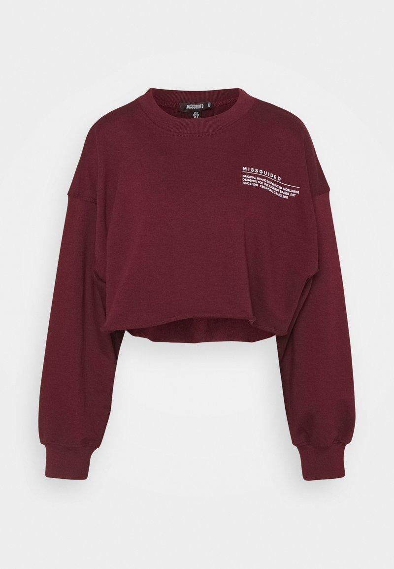 Missguided - CROPPED RAW HEM - Sweatshirt - burgundy