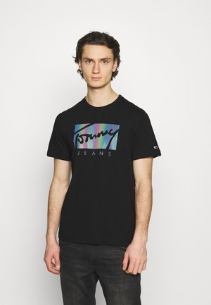 METALLIC SCRIPT TEE  - Print T-shirt - black