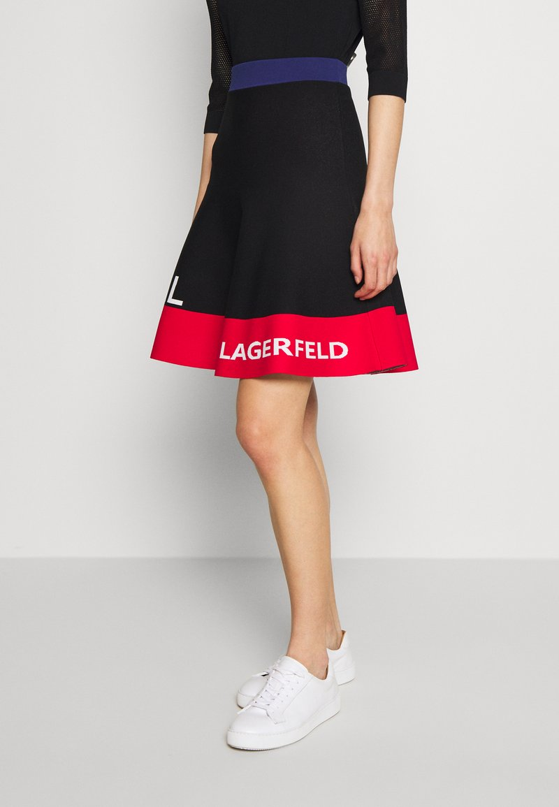 KARL LAGERFELD - COLORBLOCK SKIRT - Áčková sukně - black