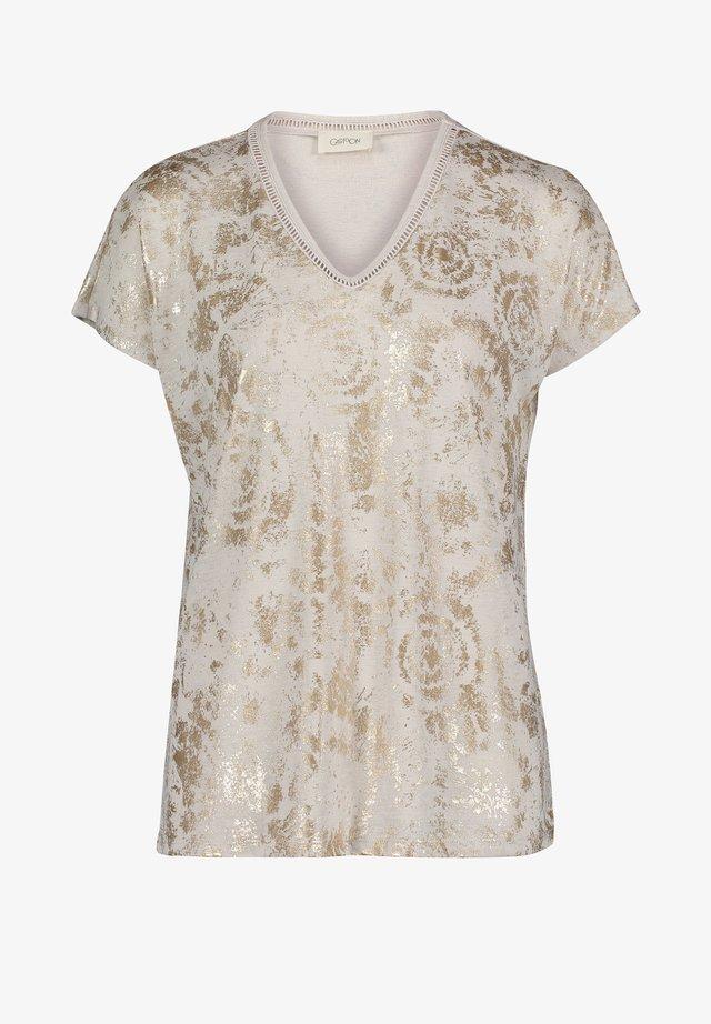 MIT AUFDRUCK - Print T-shirt - beige