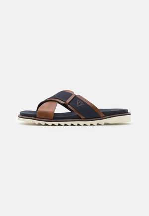 LIMON - Mules - cognac/dark blue