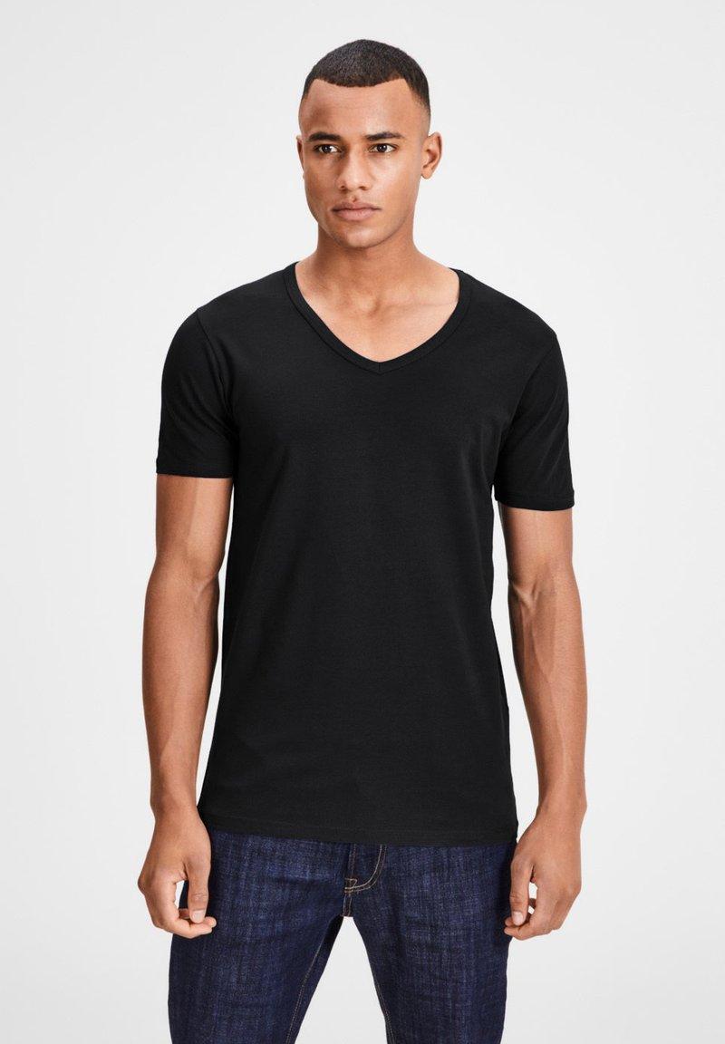 Jack & Jones - 3 PACK V-NECK - Basic T-shirt - grey/blue/black