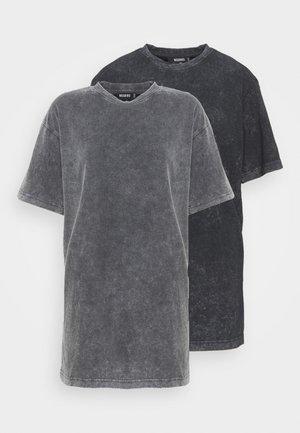 DROP SHOULDER OVERSIZED WASHED 2 PACK - Basic T-shirt - grey