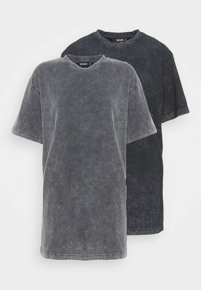 DROP SHOULDER OVERSIZED WASHED 2 PACK - T-shirt basique - grey