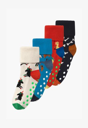 KIDS DINOSAUR/DOG ANTI-SLIP 4 PACK UNISEX - Socks - multi-coloured