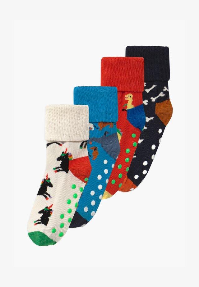 KIDS DINOSAUR/DOG ANTI-SLIP 4 PACK UNISEX - Socks - multi-coloured