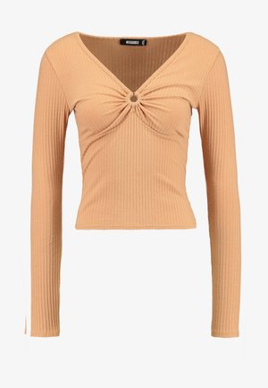 RING DETAIL LONG SLEEVE - Long sleeved top - camel