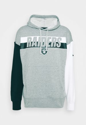 NFL OAKLAND RAIDERS WORDMARK LONG SLEEVE HERITAGE HOODIE - Club wear - dark grey heather/white/black