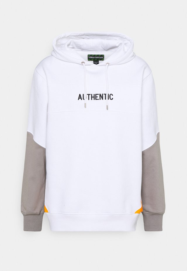 CUT & SEW HOODY UNISEX - Sweatshirt - white/grey/orange