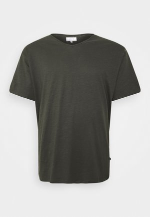 RAW VNECK SLUB TEE - Basic T-shirt - dusty black